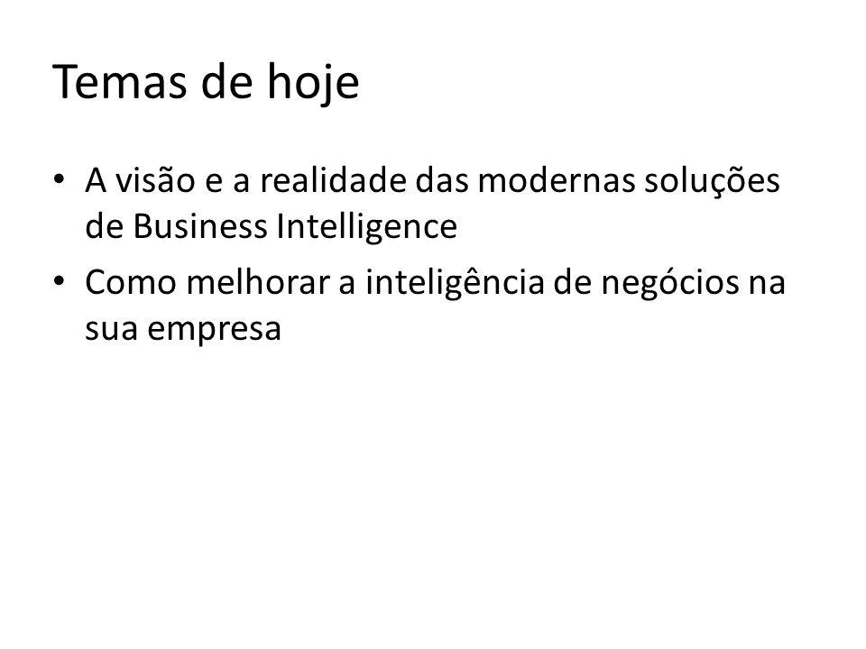 Temas de hoje A visão e a realidade das modernas soluções de Business Intelligence Como melhorar a inteligência de negócios na sua empresa