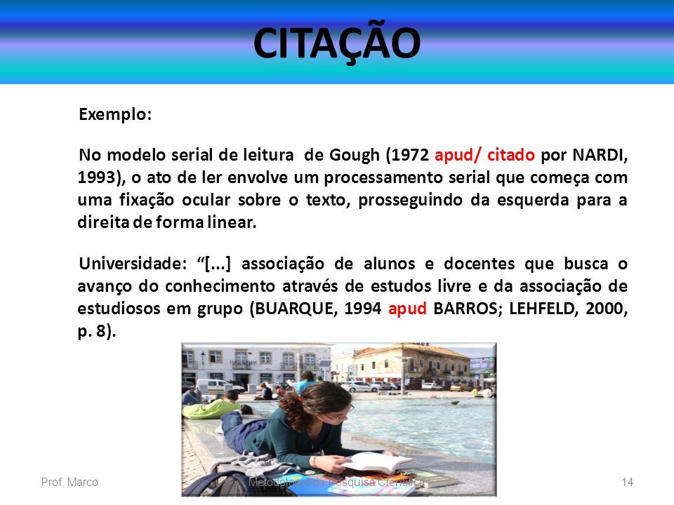 CITAÇÃO Exemplo: No modelo serial de leitura de Gough (1972 apud/ citado por NARDI, 1993), o ato de ler envolve um processamento serial que começa com