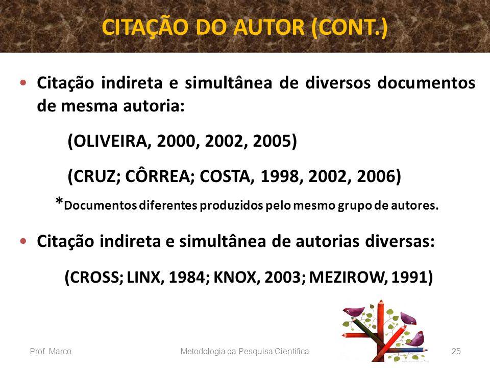 CITAÇÃO DO AUTOR (CONT.) Citação indireta e simultânea de diversos documentos de mesma autoria: (OLIVEIRA, 2000, 2002, 2005) (CRUZ; CÔRREA; COSTA, 199