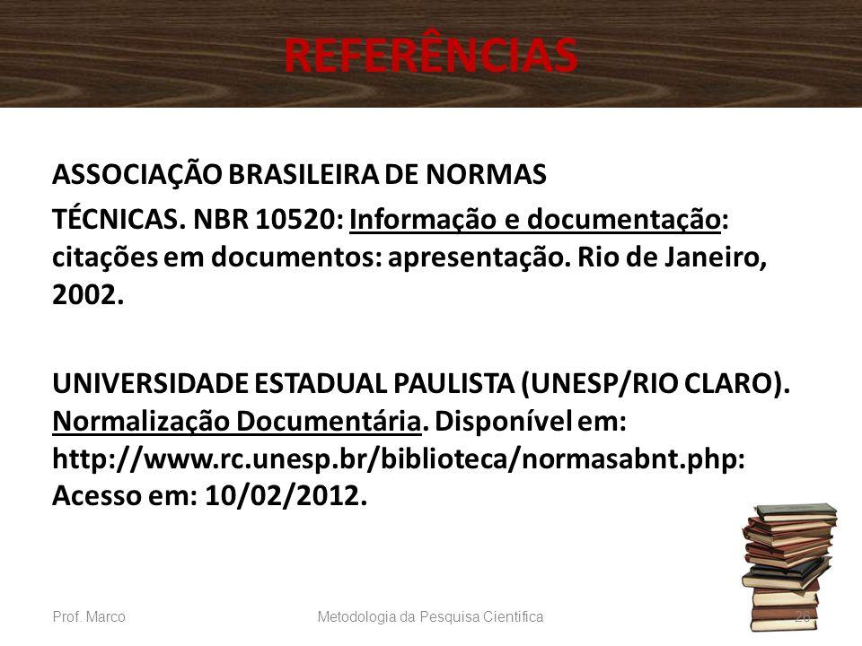 REFERÊNCIAS ASSOCIAÇÃO BRASILEIRA DE NORMAS TÉCNICAS. NBR 10520: Informação e documentação: citações em documentos: apresentação. Rio de Janeiro, 2002