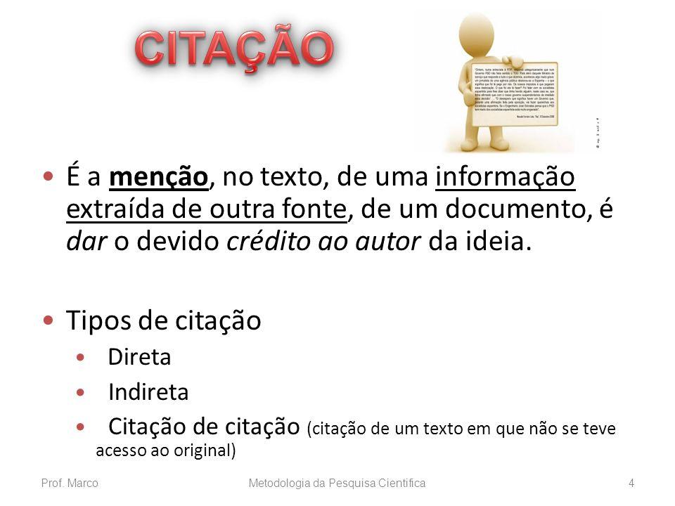 CITAÇÃO DO AUTOR (CONT.) Citação indireta e simultânea de diversos documentos de mesma autoria: (OLIVEIRA, 2000, 2002, 2005) (CRUZ; CÔRREA; COSTA, 1998, 2002, 2006) * Documentos diferentes produzidos pelo mesmo grupo de autores.