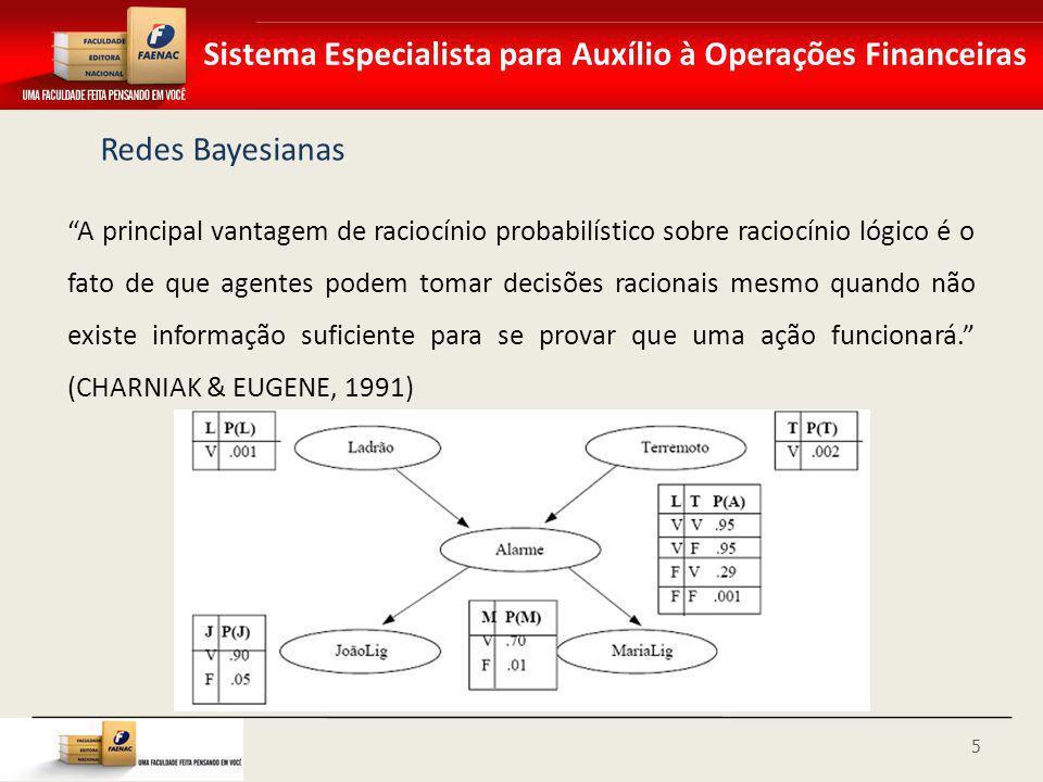 Sistema Especialista para Auxílio à Operações Financeiras Redes Bayesianas A principal vantagem de raciocínio probabilístico sobre raciocínio lógico é