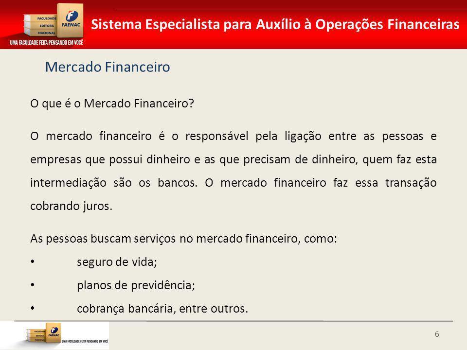 Sistema Especialista para Auxílio à Operações Financeiras Mercado Financeiro O que é o Mercado Financeiro? O mercado financeiro é o responsável pela l