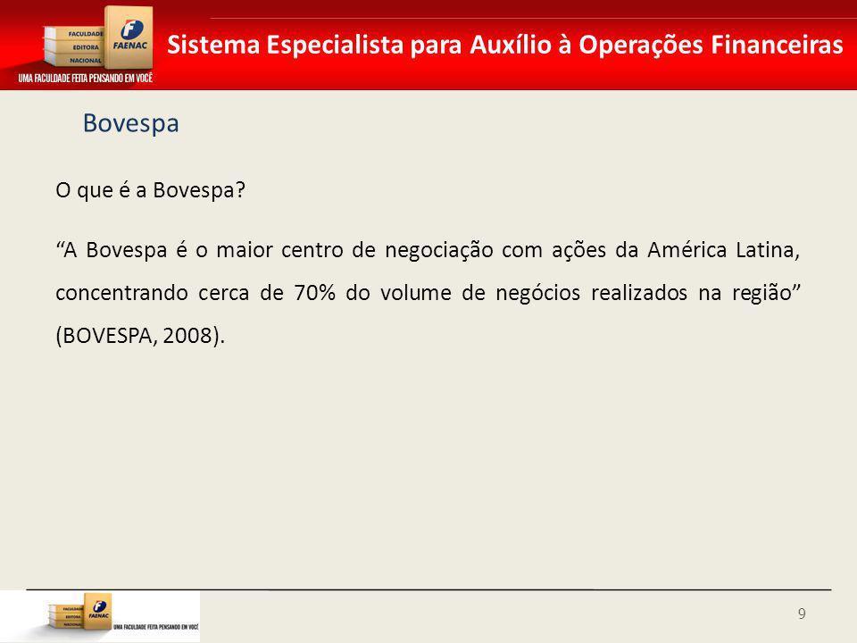 Sistema Especialista para Auxílio à Operações Financeiras Bovespa O que é a Bovespa? A Bovespa é o maior centro de negociação com ações da América Lat