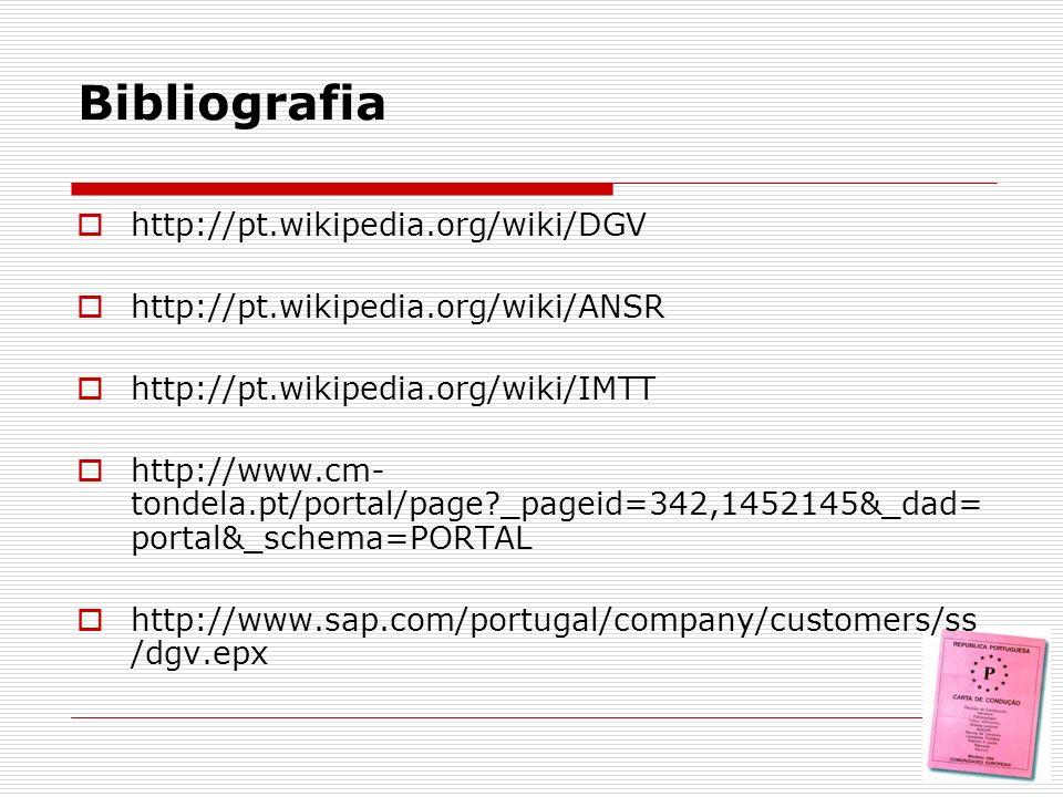 http://pt.wikipedia.org/wiki/DGV http://pt.wikipedia.org/wiki/ANSR http://pt.wikipedia.org/wiki/IMTT http://www.cm- tondela.pt/portal/page?_pageid=342