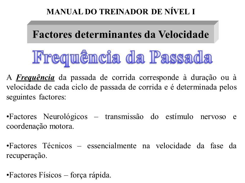 MANUAL DO TREINADOR DE NÍVEL I Factores determinantes da Velocidade A Frequência da passada de corrida corresponde à duração ou à velocidade de cada c