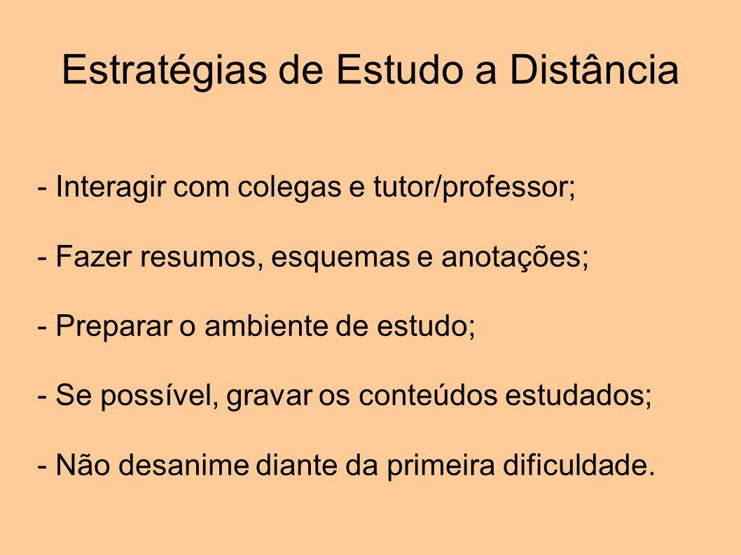 Estratégias de Estudo a Distância - Interagir com colegas e tutor/professor; - Fazer resumos, esquemas e anotações; - Preparar o ambiente de estudo; -