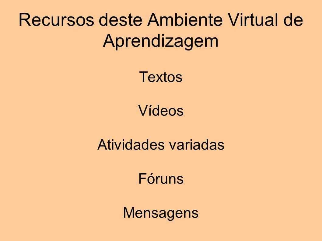 Recursos deste Ambiente Virtual de Aprendizagem Textos Vídeos Atividades variadas Fóruns Mensagens