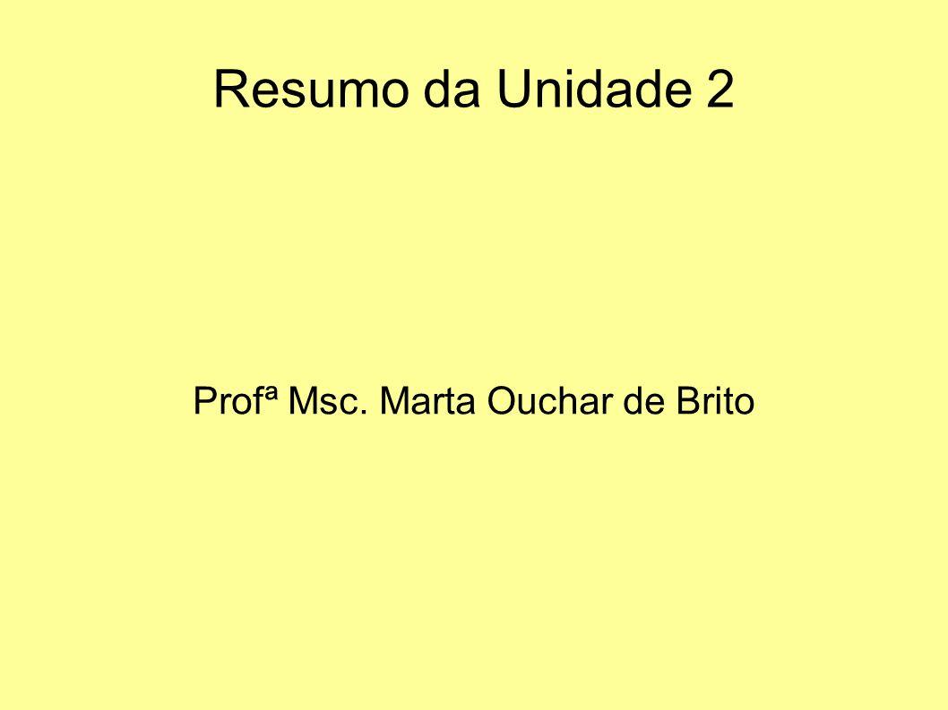 Resumo da Unidade 2 Profª Msc. Marta Ouchar de Brito