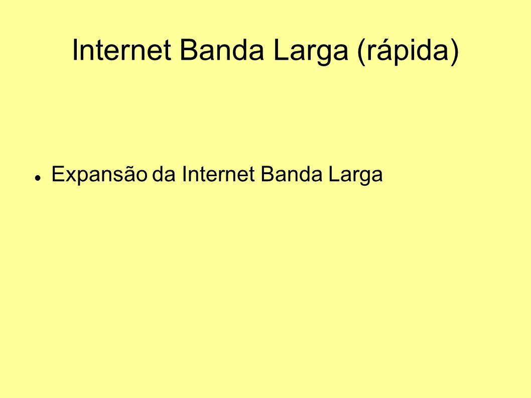 Internet Banda Larga (rápida) Expansão da Internet Banda Larga