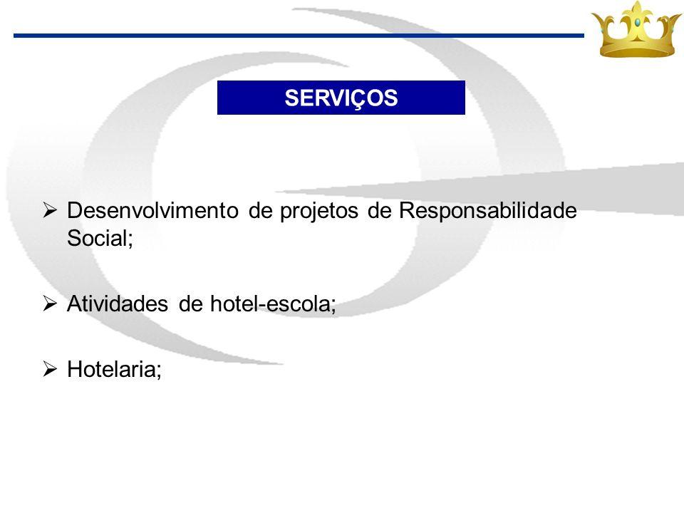 SERVIÇOS Desenvolvimento de projetos de Responsabilidade Social; Atividades de hotel-escola; Hotelaria;