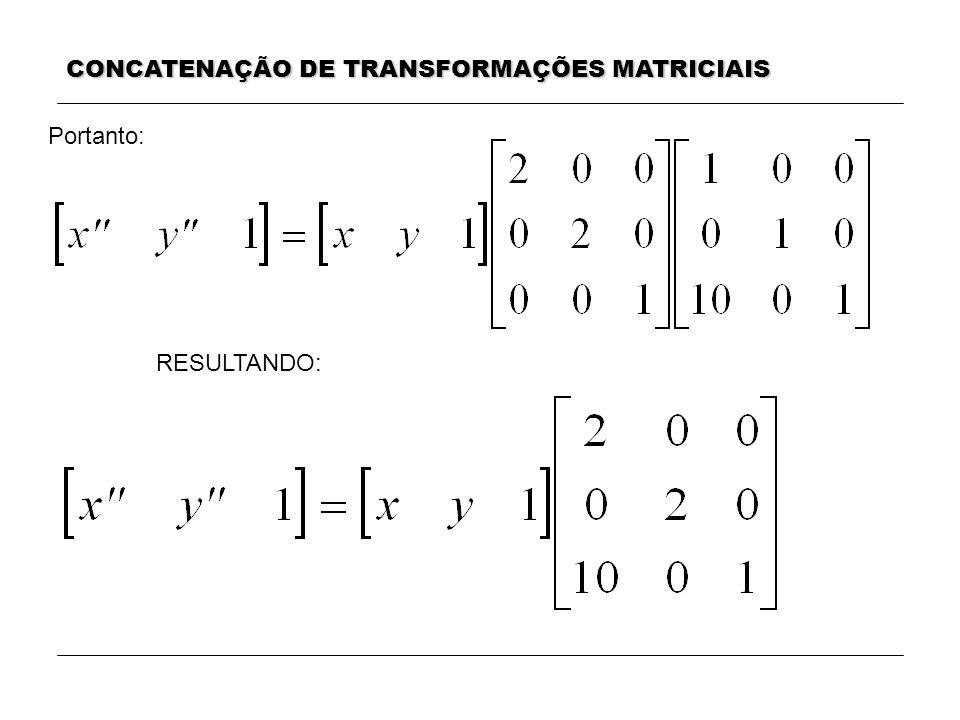 CONCATENAÇÃO DE TRANSFORMAÇÕES MATRICIAIS RESULTANDO: Portanto: