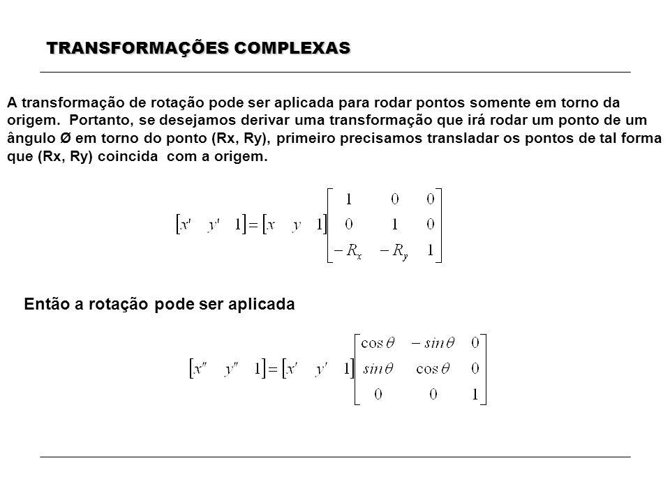 TRANSFORMAÇÕES COMPLEXAS Então a rotação pode ser aplicada A transformação de rotação pode ser aplicada para rodar pontos somente em torno da origem.