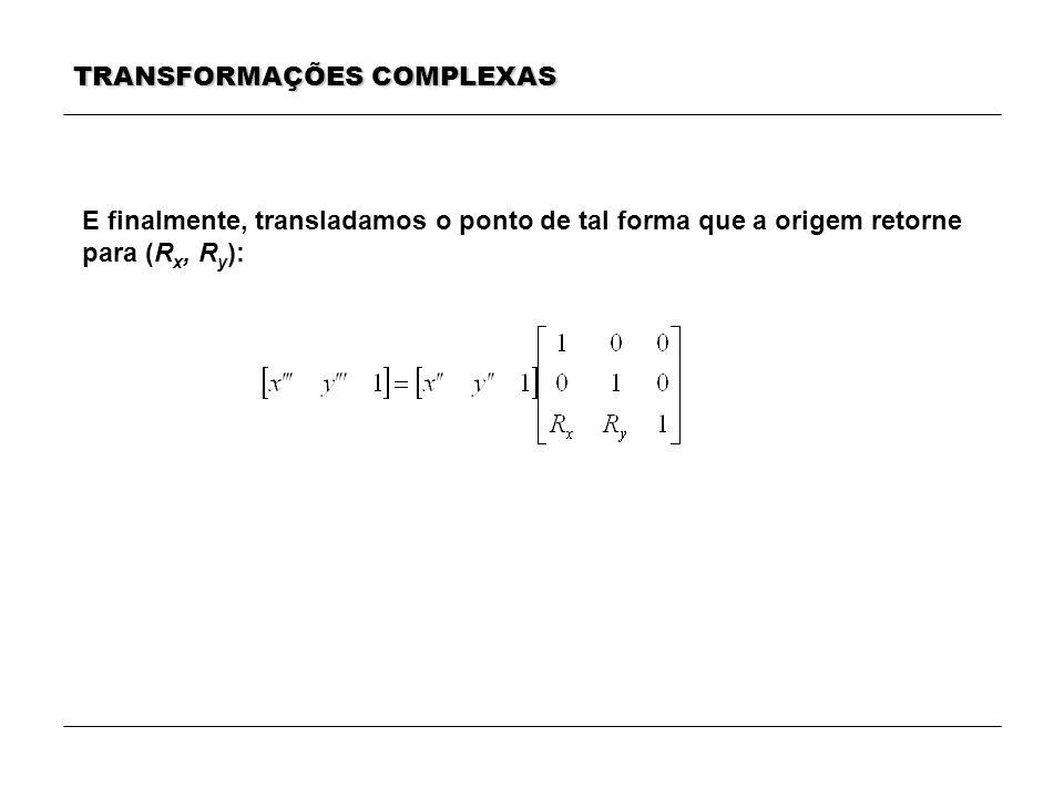 TRANSFORMAÇÕES COMPLEXAS E finalmente, transladamos o ponto de tal forma que a origem retorne para (R x, R y ):