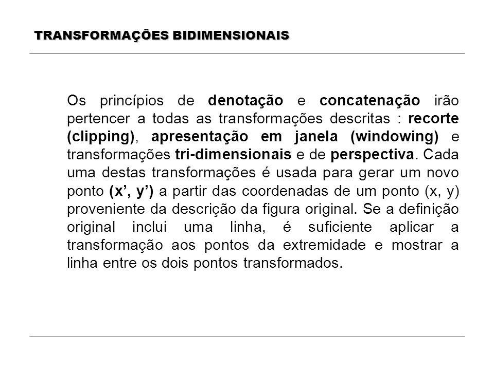 Os princípios de denotação e concatenação irão pertencer a todas as transformações descritas : recorte (clipping), apresentação em janela (windowing)