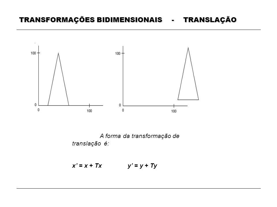 TRANSFORMAÇÕES BIDIMENSIONAIS - TRANSLAÇÃO A forma da transformação de translação é: x = x + Txy = y + Ty
