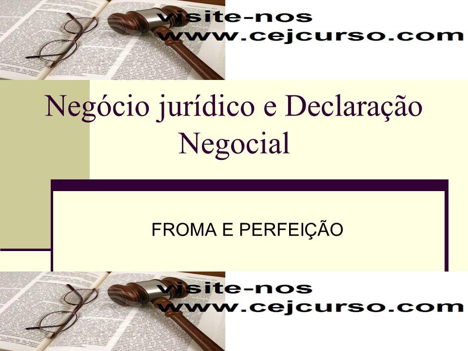 Declaração Negocial- CONCEITO Declaração Negocial: é um comportamento que exteriormente observado, cria a aparência que se traduz num contéudo de vontade negocial.