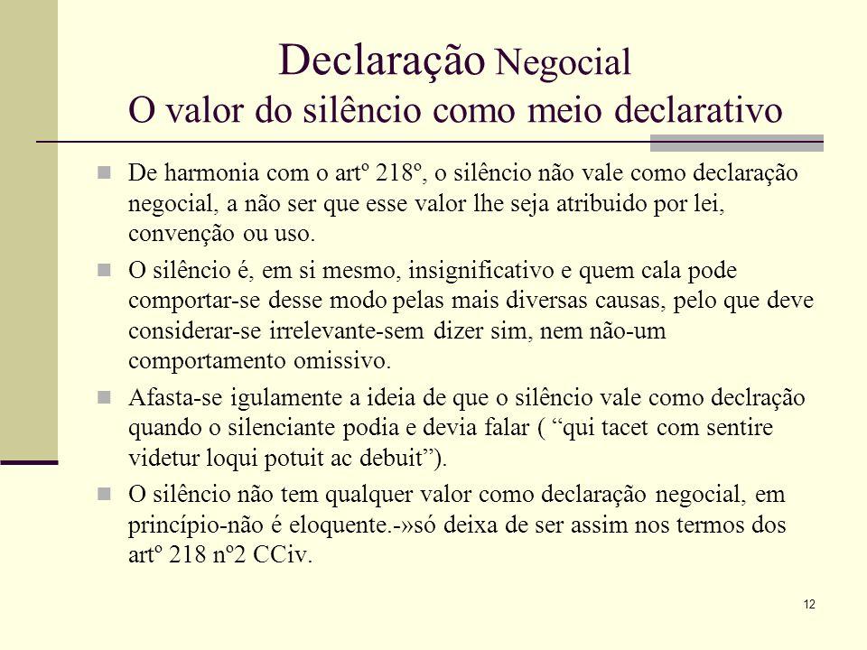Declaração Negocial O valor do silêncio como meio declarativo Trata-se, principalmente de saber se o silêncio pode considerar- se um facto concludente (declaração tácita) no sentido da aceitação de propostas negociais.
