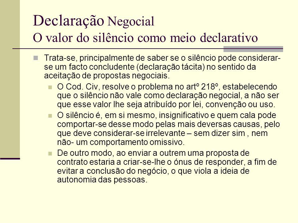 Declaração Negocial O valor do silêncio como meio declarativo Afasta-se igualmente a ideia de que o silêncio vale como declaração quando o silenciante podia e devia falar--»quid tacet com sentire videtur loqui potui ac debuit O silêncio não tem qualquer valor como declaração negocial, em princípio--»não eloquente.