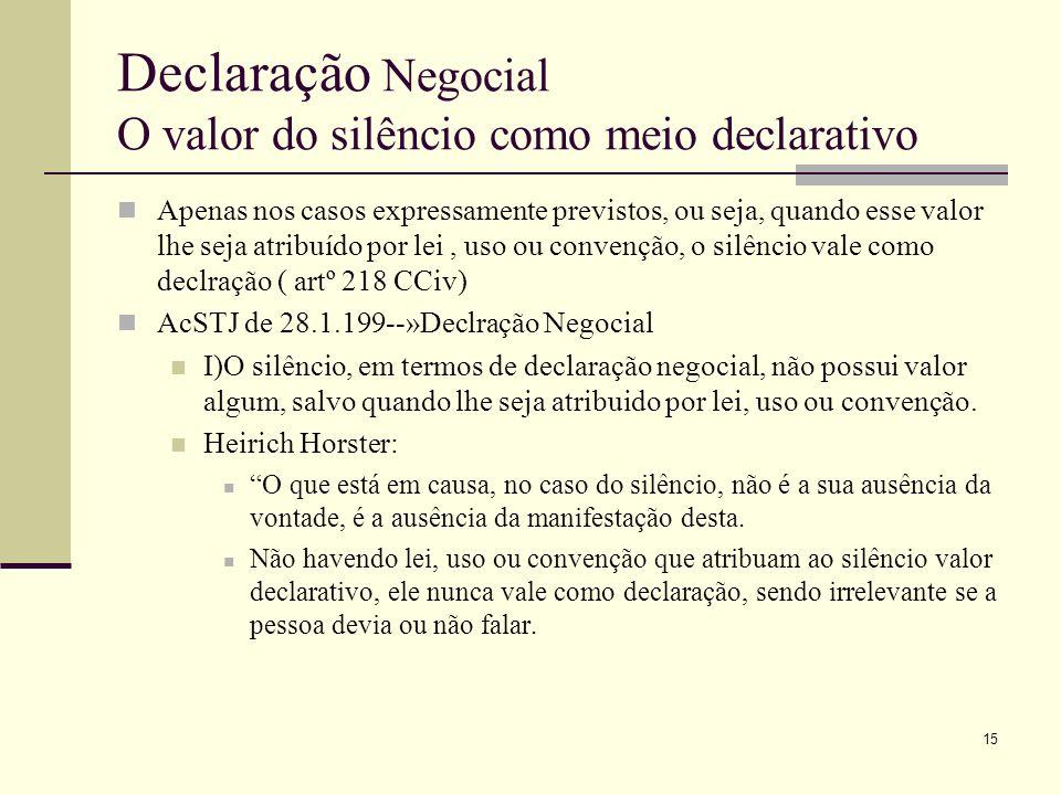 16 Declaração Negocial O valor do silêncio como meio declarativo Casos em que o silêncio tem valor declarativo são os previstos: Artº923º,nº2 CCiv--»aceitação da proposta de venda a contento Artº 1163ºCCiv--»aprovação por silêncio Artº 417ºCComercial--»conversão dos contratos condicionais em contratos perfeitos Artº 22º nº2 da Lei sobre o Contrato de Agência, DL nº 178/86, de 3 de Julho --»ratificação do negócio por parte do principal, quando o agente tenha celebrado o mesmo sem os respectivos poderes de representação.