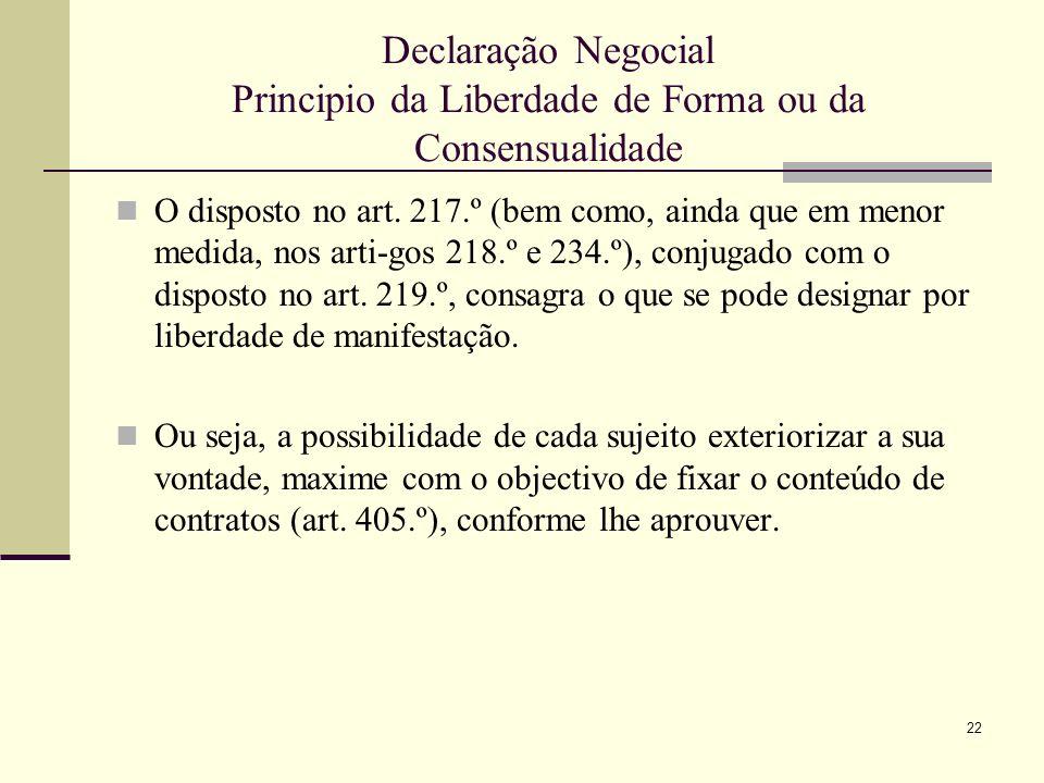 23 Declaração Negocial Principio da Liberdade de Forma ou da Consensualidade Sublinhe -se que não se trata apenas de liberdade de forma, i.