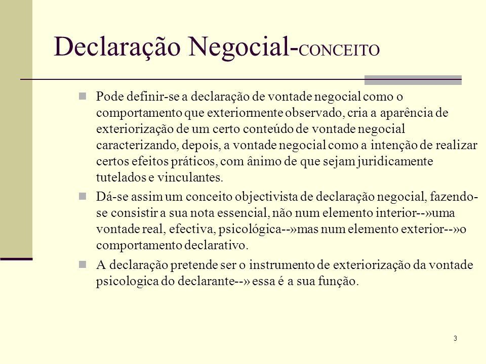 4 Declaração Negocial- CONCEITO A declaração negocial é um comportamento humano portador de um sentido e destinado, pelo seu autor, a produzir efeitos jurídico-privados de acordo com esse sentido.