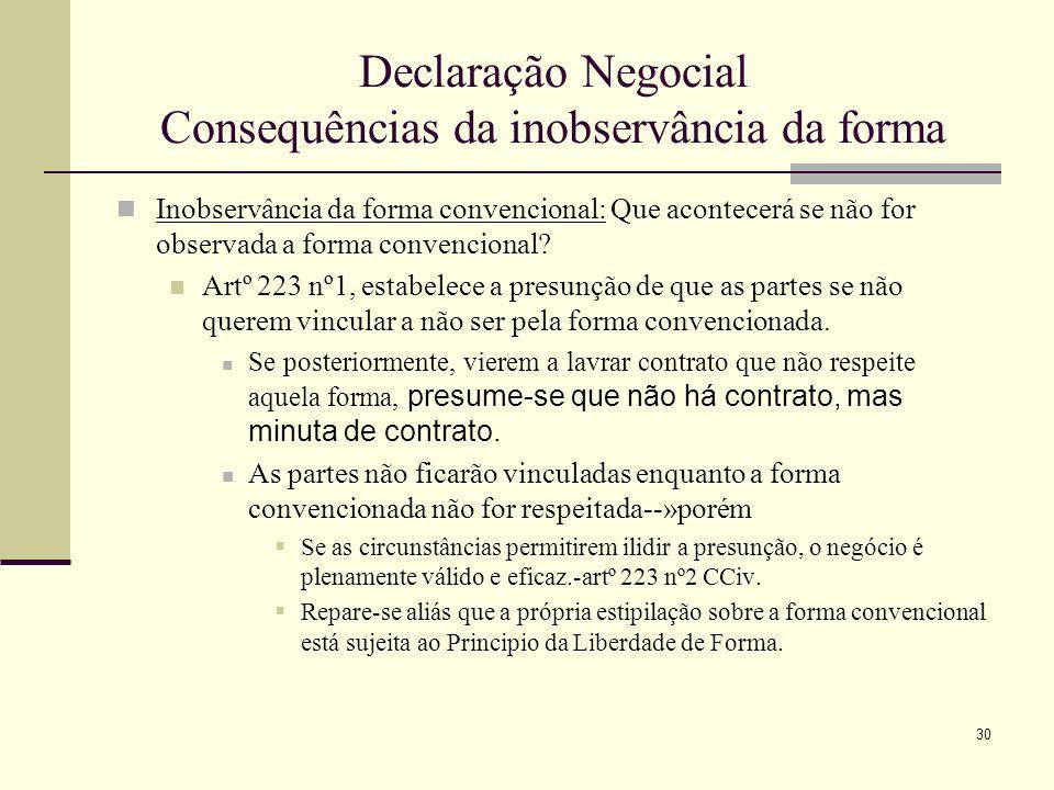 31 Declaração Negocial Consequências da inobservância da forma È obvio que tratando-se de averiguar quais as consequências da falta de requesitos formais que a lei não exige, mas as partes convencionaram, a resposta ao problema posto deve ser pedida, em primeiro lugar, á vontade das partes O artº 223º limita-se a estabelecer presunções--» que, como todas as presunções legais, são em princípio meramente relativas ou tantum juris--»artº 350º CCiv.