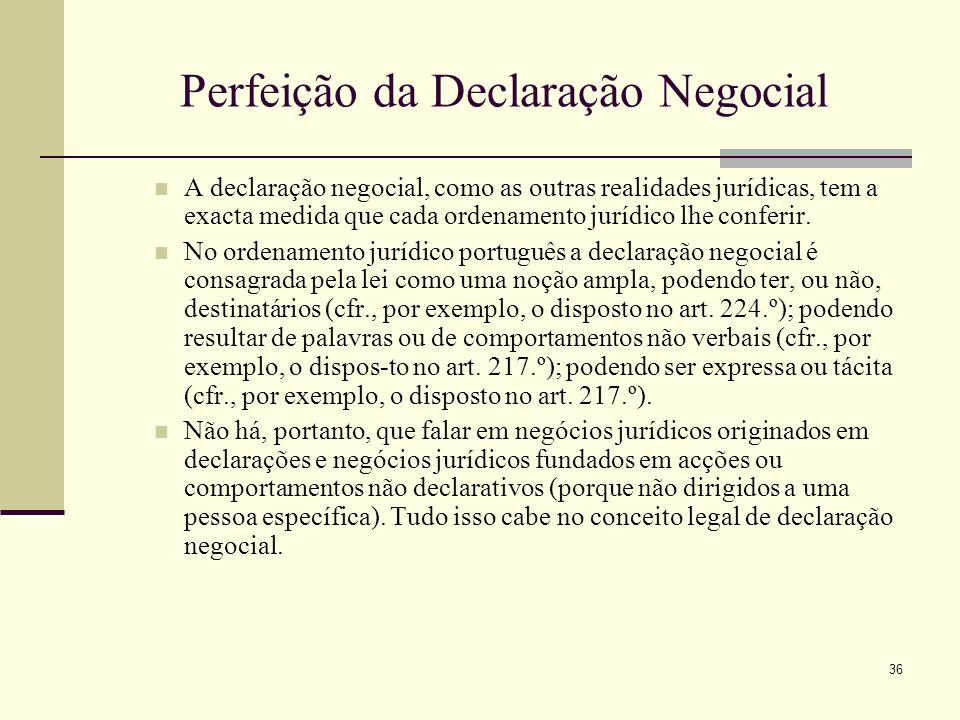 37 Perfeição da Declaração Negocial A declaração abrange todo o comportamento humano voluntário destinado a produzir efeitos jurídicos de acordo com o seu sentido – independentemente da existência de escopo notificativo ou de declaratário específico.