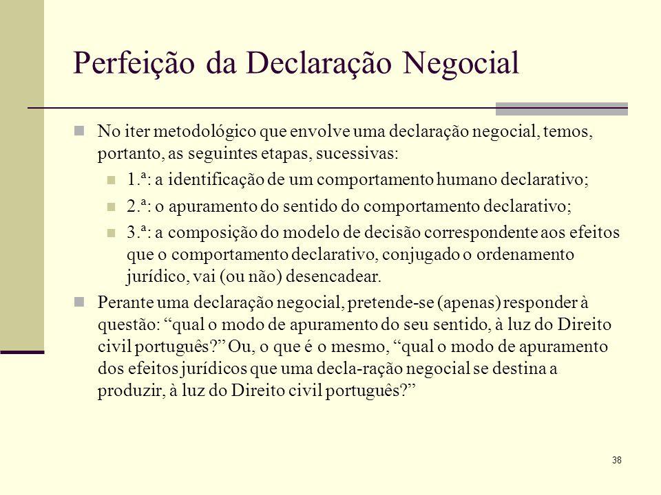 39 Vinculatividade e Perfeição da Declaração Negocial Declaração validamente emitida«--Não é ainda, necessariamente, declaração vinculante; excepto artº 224 nº1CCiv /2ªparte--»se não há declarátario, é certo, a vinculação do declarante dá-se logo no momento da emissão.