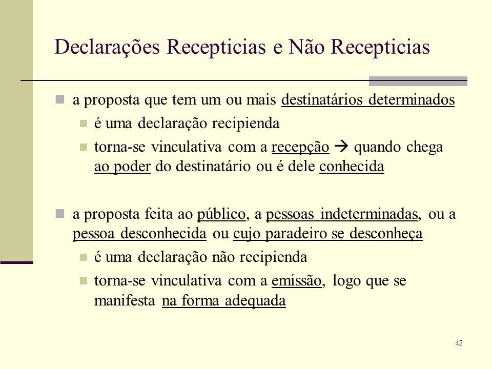 43 Declaração Negocial Proposta de contrato O contrato forma-se quando as vontades coincidem no mesmo ponto e visam obter certos efeitos.
