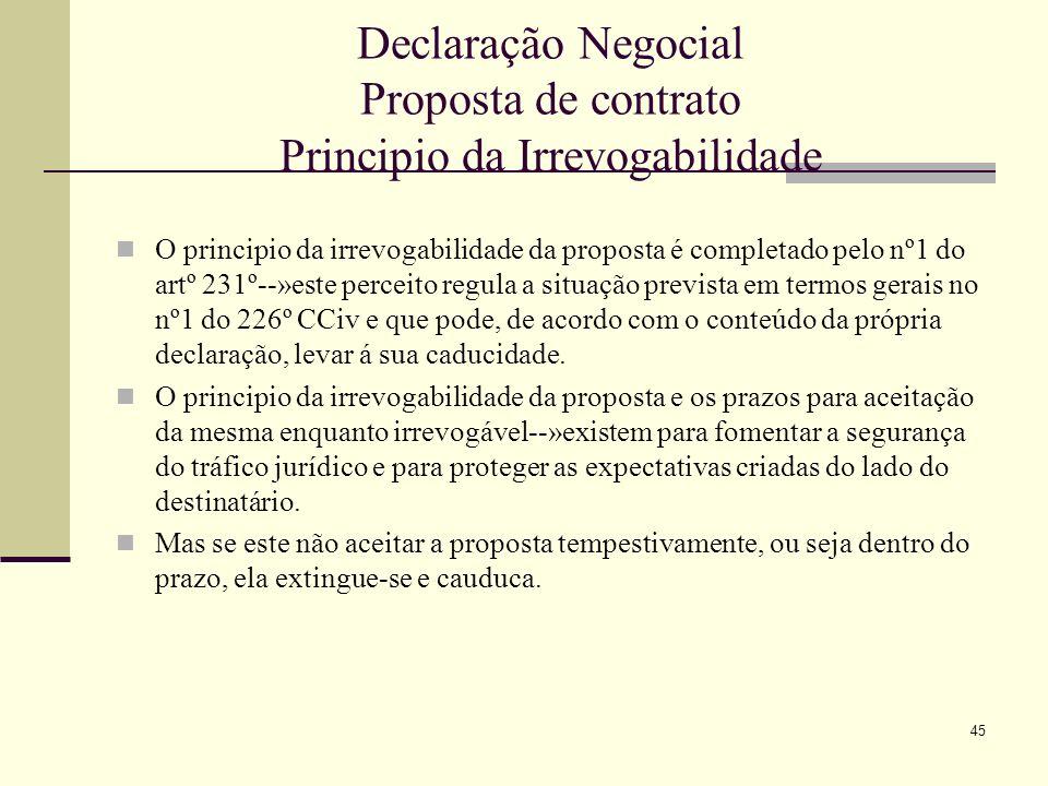 46 Declaração Negocial Proposta de contrato Fases que visam alcançar a coincidência de interesses: 1.