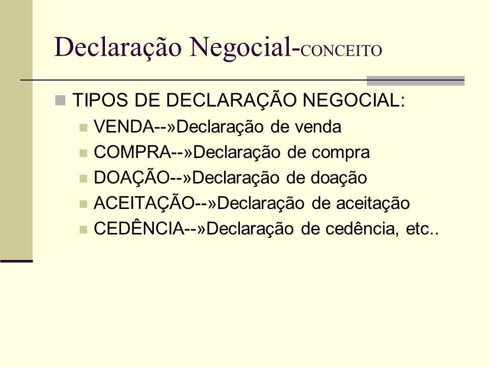 Declaração Negocial- CONCEITO DECLRAÇÃO NEGOCIAL ELEMENTO EXTERNO-»declaração propriamente dita ELEMENTO INTERNO-- »Vontade
