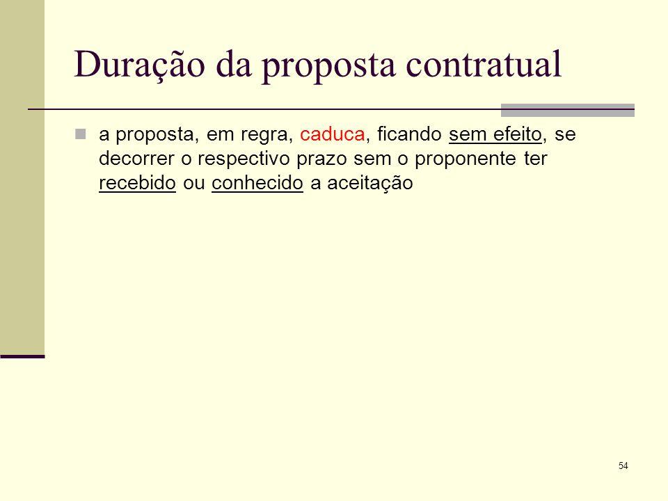 55 Duração da proposta contratual estipulação de prazo para a aceitação (art.