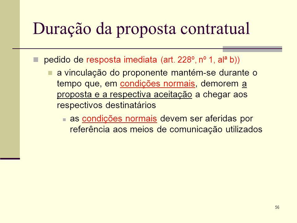 57 Jurisprudência exemplificativa I - Se o proponente na sua proposta fixar um prazo para a sua aceitação, essa proposta mantém-se até que finde esse prazo.