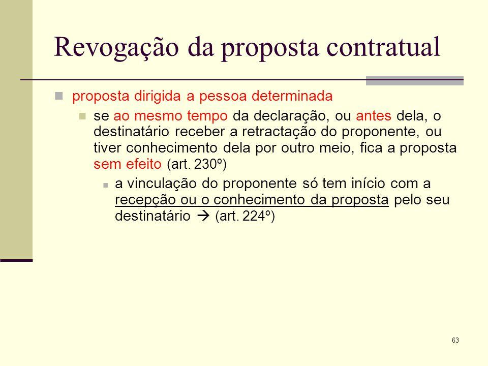 64 Revogação da proposta contratual proposta dirigida ao público a eficácia da revogação ocorre logo que seja feita, desde que o seja na mesma forma da proposta ou em forma equivalente (art.