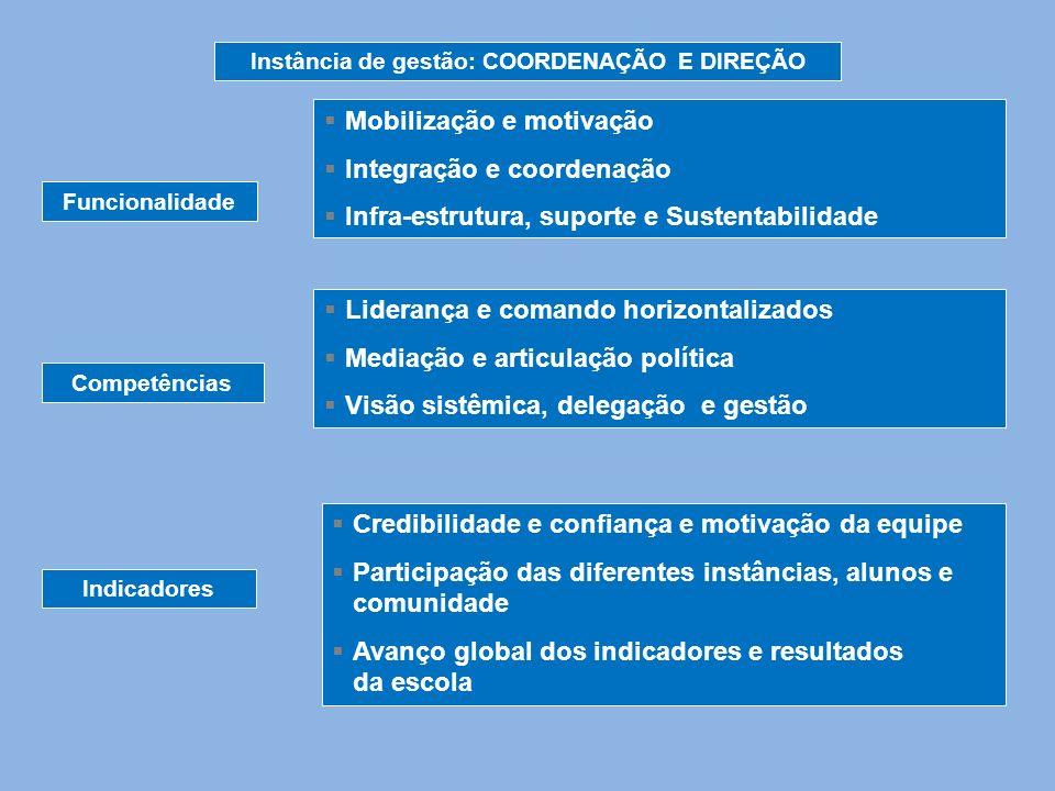 Instância de gestão: COORDENAÇÃO E DIREÇÃO Funcionalidade Competências Indicadores Mobilização e motivação Integração e coordenação Infra-estrutura, s