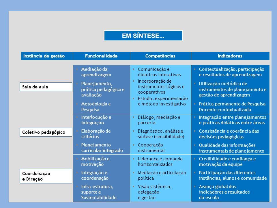 Diálogo, mediação e parceria Diagnóstico, análise e síntese (sensibilidade) Cooperação instrumental Sala de aula Coordenação e Direção Instância de ge