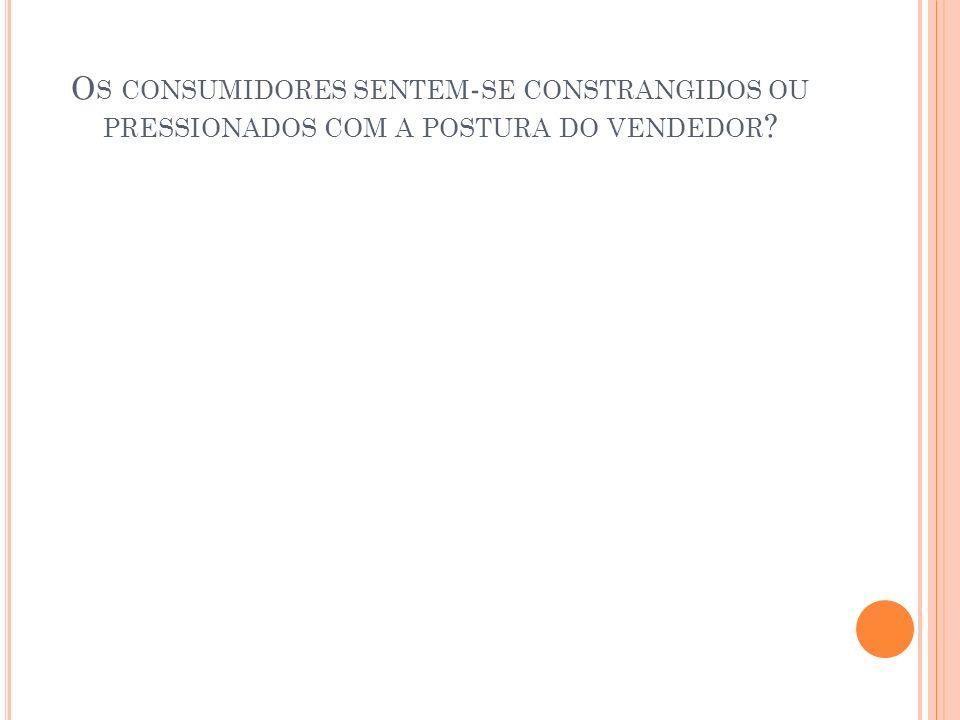 O S CONSUMIDORES SENTEM - SE CONSTRANGIDOS OU PRESSIONADOS COM A POSTURA DO VENDEDOR ?