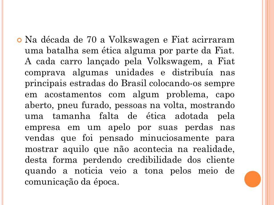 Na década de 70 a Volkswagen e Fiat acirraram uma batalha sem ética alguma por parte da Fiat. A cada carro lançado pela Volkswagem, a Fiat comprava al