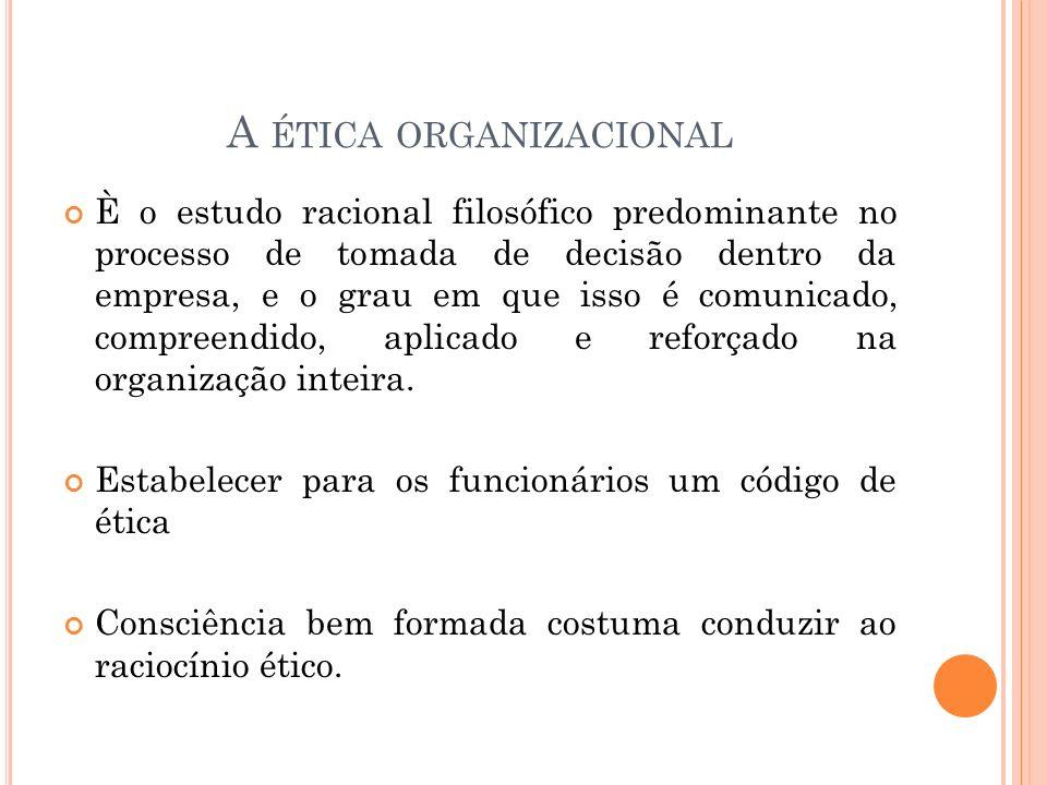 A ÉTICA ORGANIZACIONAL È o estudo racional filosófico predominante no processo de tomada de decisão dentro da empresa, e o grau em que isso é comunica