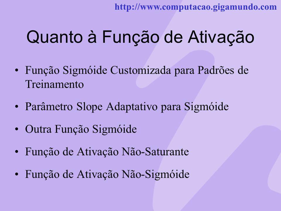 http://www.computacao.gigamundo.com Quanto à Função de Ativação Função Sigmóide Customizada para Padrões de Treinamento Parâmetro Slope Adaptativo par
