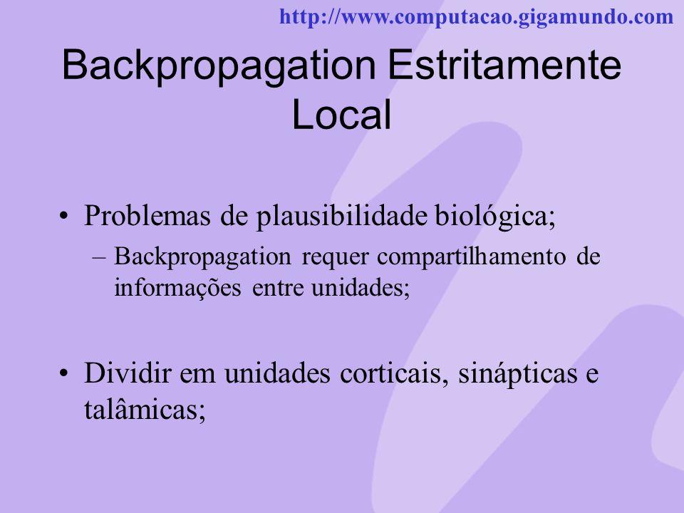 http://www.computacao.gigamundo.com Backpropagation Estritamente Local Problemas de plausibilidade biológica; –Backpropagation requer compartilhamento