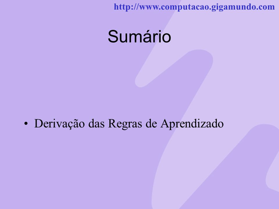 http://www.computacao.gigamundo.com Sumário Derivação das Regras de Aprendizado
