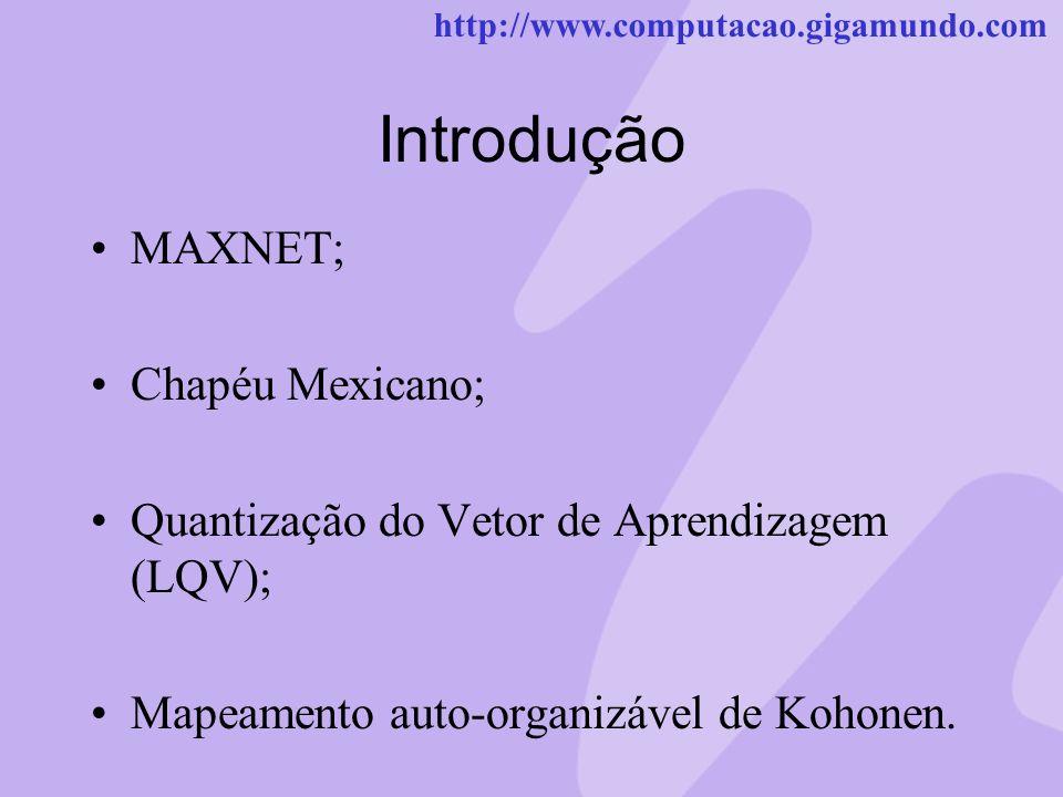 http://www.computacao.gigamundo.com Introdução MAXNET; Chapéu Mexicano; Quantização do Vetor de Aprendizagem (LQV); Mapeamento auto-organizável de Koh