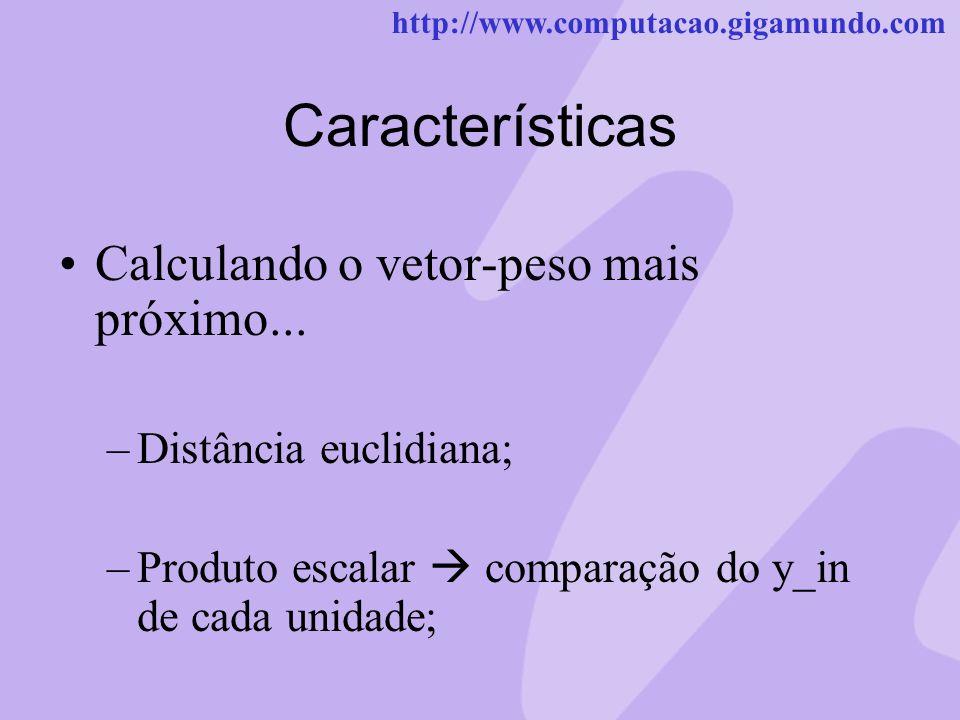 http://www.computacao.gigamundo.com Características Calculando o vetor-peso mais próximo... –Distância euclidiana; –Produto escalar comparação do y_in