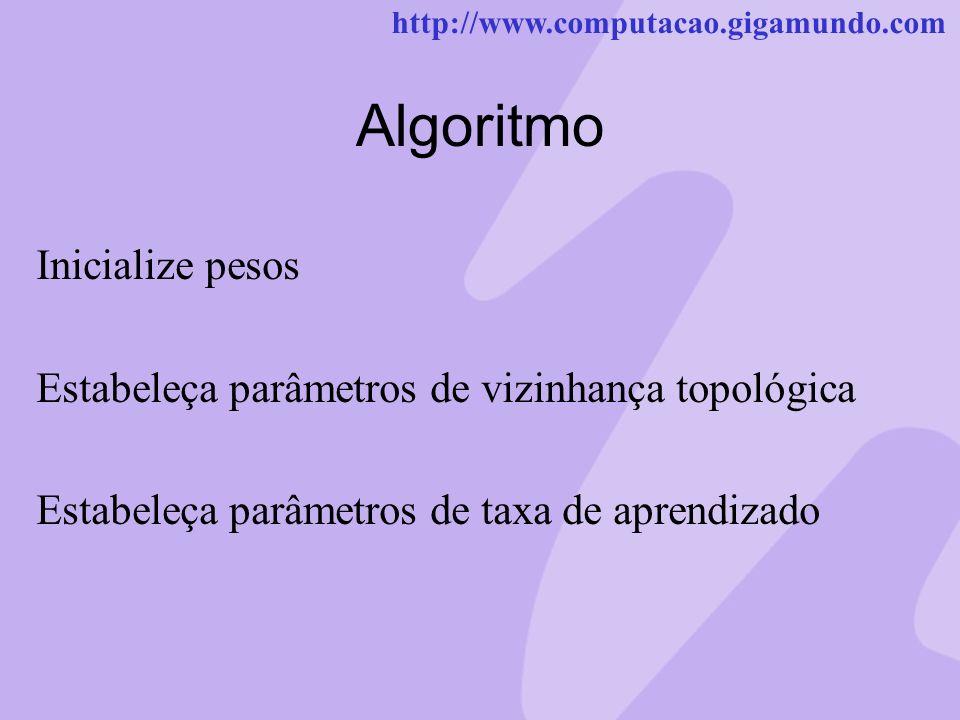 http://www.computacao.gigamundo.com Algoritmo Inicialize pesos Estabeleça parâmetros de vizinhança topológica Estabeleça parâmetros de taxa de aprendi
