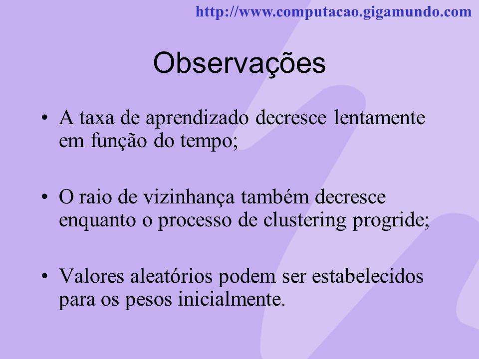 http://www.computacao.gigamundo.com Observações A taxa de aprendizado decresce lentamente em função do tempo; O raio de vizinhança também decresce enq