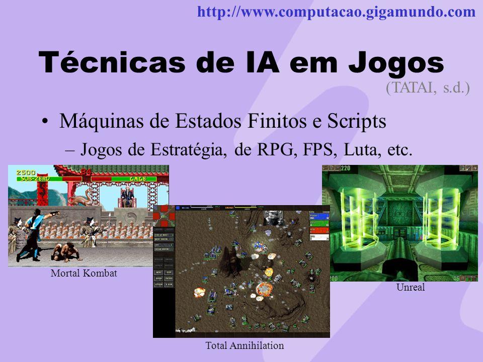 http://www.computacao.gigamundo.com Técnicas de IA em Jogos Máquinas de Estados Finitos e Scripts –Jogos de Estratégia, de RPG, FPS, Luta, etc. (TATAI