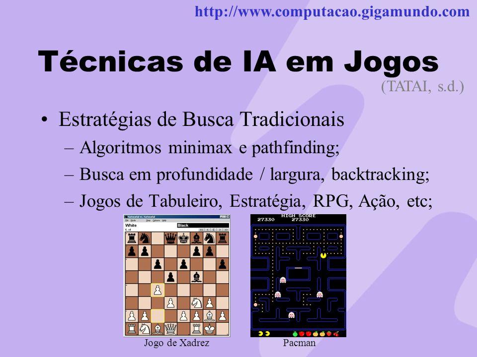 http://www.computacao.gigamundo.com Técnicas de IA em Jogos Estratégias de Busca Tradicionais –Algoritmos minimax e pathfinding; –Busca em profundidad
