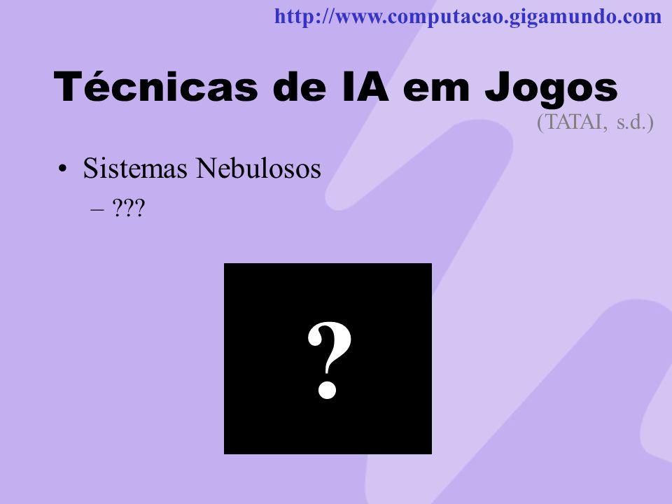 http://www.computacao.gigamundo.com Técnicas de IA em Jogos Sistemas Nebulosos –??? (TATAI, s.d.) q ?